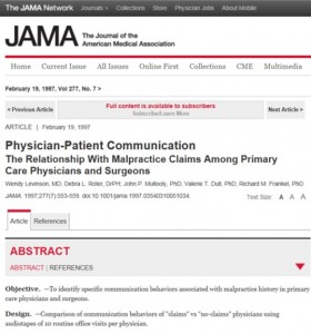 JAMA'da yayınlanan 'Physician-Patient Communication' makalesi.