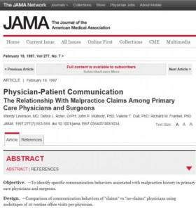 JAMA'da yayınlanan 'Physician-Patient Communication' makalesi.